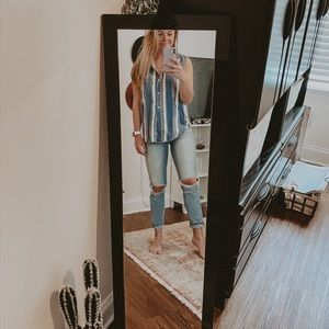 Striped Buttoned Up Tank